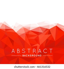 Geometric Red and White Abstract Vector Background for Use in Design. Modern Polygon Texture with Text.