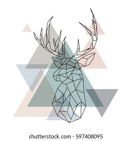 Geometric reindeer illustration. Abstract vector. Geometric deer head. Scandinavian style.