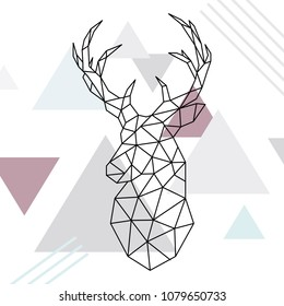 Geometric reindeer illustration. low poly line art. Wild deer. Scandinavian style. Vector illustration.