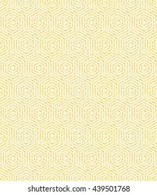 Geometric repeating vector golden ornament with hexagonal dotted elements. Seamless abstract modern pattern