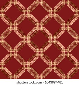 Geometric repeating vector ornament with octagonal golden dotted elements. Geometric abstract ornament. Seamless abstract modern red and golden pattern