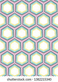 Geometric retro hexagon shape seamless pattern. All over print vector background. Summer 1950s quilt tile fashion style. Trendy honeycomb wallpaper, vintage home decor. Drawn graphic textile fabric
