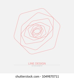 Geometric rose. Abstract line art