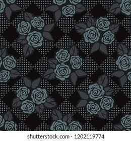 Geometric Rose Floral Seamless Vector Pattern, Hand Drawn Gothic Style Flower Illustration for Trendy Fashion Prints, Wallpaper, Packaging, Masculine Home Decor, Gift Wrap. Stylish Background Texture.