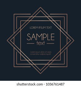 Geometric rose gold design template. Modern design for wedding invitation, greeting card, anniversary. Blue background with geometric squares and lines. Vector illustration