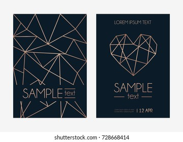 Geometric rose gold design template set. Modern design for wedding invitation, greeting card, anniversary. Navy blue background with geometric rose gold circle. Vector illustration