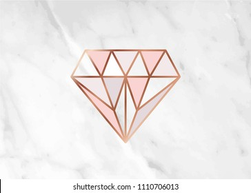 Geometric rose gold diamond shape with marble background texture design for packaging, wedding card and cover template.