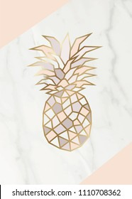 Geometric rose gold Pineapple shape with marble background texture design for packaging, wedding card and cover template.