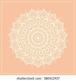 Geometric round doodle mandala white lace element - vector illustration card