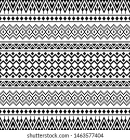 geometric seamless aztec pattern design in black and white color