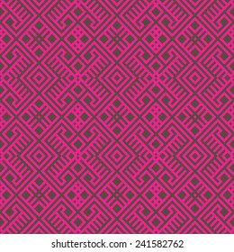 geometric seamless ethnic pattern background in brown and magenta colors, vector illustration