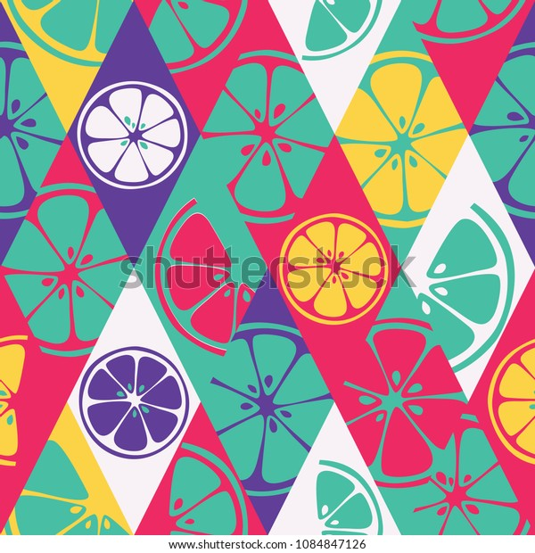 Geometric seamless fresh fruits pattern on colorful rhombus background. Abstract set of bright fresh citrus slices of orange, grapefruit, lemon, lime. Vector 10 EPS use for package, print textile, web