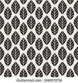 Geometric Seamless Leaf Vector Pattern. Floral Illustration background.