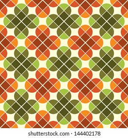 Geometric seamless mosaic tiles pattern with stylized flowers, vector background in retro style.