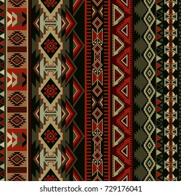 Geometric seamless ornament for ceramics, wallpaper, textile, web, cards. Ethnic pattern. Border ornament. Native american design, Navajo. Mexican motif, Aztec ornament