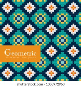 Geometric seamless pattern. 3D islamic or arabian weave motif. Vector geometrical ceramic background.