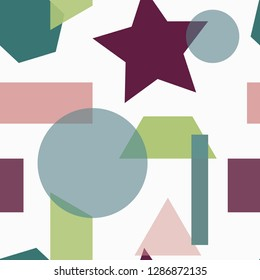 Geometric seamless pattern. Abstrac background with square, circle, trapeze, star, rectangle, hexagon.