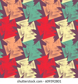 Geometric seamless pattern with abstract unusual shapes on dark background.