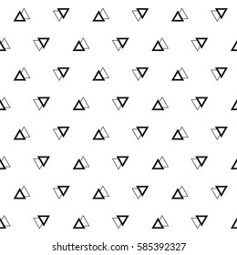 Geometric seamless pattern. Abstract vector background. Triangles black and white background.