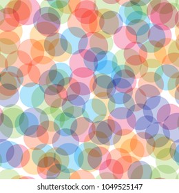 Geometric seamless pattern of circles. Abstract background from colorful circles. Vector illustration.