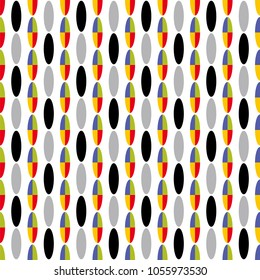 Geometric seamless pattern of colored ovals