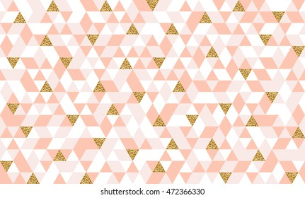 Geometric seamless pattern with colorful and glitter gold triangles. Abstract mosaic background for cards, wedding invitation or scrapbooking. Vector illustration.