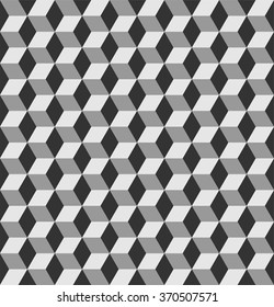 Geometric seamless pattern with cubes, grayscale geo pattern