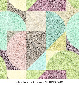 Geometric seamless pattern. Cute simple print for textiles, carpets, pillows, home decor. Simple abstract shapes. Hand-drawn patchwork ornament in the style of pointillism. Vector illustration.