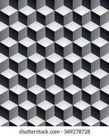 Geometric seamless pattern, endless black and white vector regular background. Abstract covering with 3d cubes and squares.