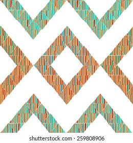 Geometric seamless pattern in ethnic style made of hand drawn lined colorful triangles on white background. Clipping mask. Vector illustration.