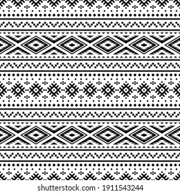 Geometric seamless pattern ethnic texture design vector in monochrome color