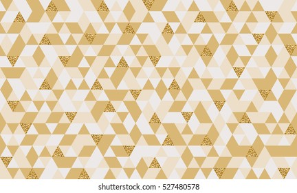 Geometric seamless pattern with glitter gold triangles. Abstract mosaic background for cards, wedding invitation or scrapbooking. Vector illustration.