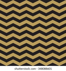 Geometric seamless pattern with gold and black lines. Vector zig zag stripes.