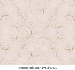 Geometric seamless pattern with gold circle waved tiles.