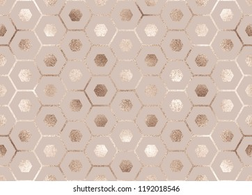 Geometric seamless pattern with gold mermaid scales.