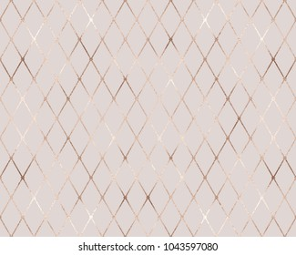 Geometric seamless pattern. Rose gold rhombus tiles. Pink glitter geometry texture. Elegant template for your design, wrapping paper, wallpaper, print, fabric, party, wedding, save the date.