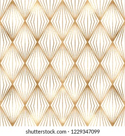 Geometric seamless pattern with gold rhombus tiles.