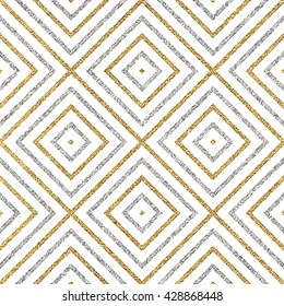 Geometrisches, nahtloses Muster von silbernen Linien oder Strichen aus Gold, abstrakter, nahtloser Hintergrund aus goldenem silbernem Rundholz, Quadrat, Vektorgrafik für Papier, Karte, Einladung, Umhüllung, Textilien, Webdesign