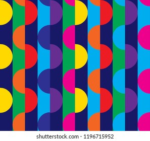 Geometric seamless pattern with half circles and stripes in yellow, blue, orange, red, purple, pink, and green.