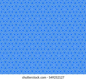 Geometric seamless pattern. Modern floral ornament. blue color. Vector illustration. For the interior design, wallpaper, decoration print, fill pages