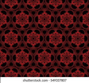 Geometric seamless pattern. Modern floral ornament. Red, black color. Vector illustration. For the interior design, wallpaper, decoration print, fill pages