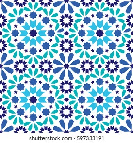 Geometric seamless pattern, Moroccan tiles design, seamless blue and turquoise tile background