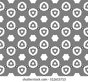 Geometric seamless pattern on the basis of black wavy lines. White background. Vector illustration. For the interior design, wallpaper, decoration print, fill pages.