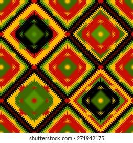 Geometric Seamless Pattern in Rasta Colors. Vector Illustration.