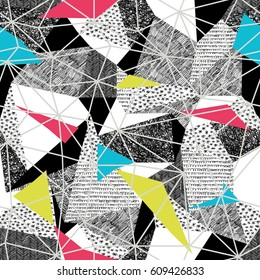 Geometric seamless pattern in retro pop-art style. Vintage background. Triangles and hand drawn patterns. Light Grey Triangular facets. Vector pattern. Pink and Cyan and yellow seamless Triangles