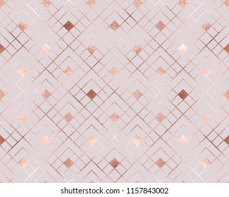 Geometric seamless pattern with rose gold rhombuses tiles.