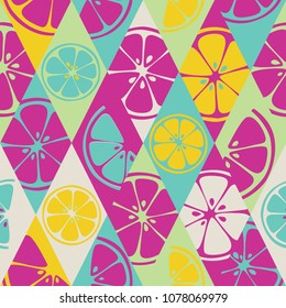 Geometric seamless pattern set background colorful fresh citrus juicy fruits of orange, grapefruit, lemon, lime. Vector EPS file use for package, website design. Modern art style illustration texture.