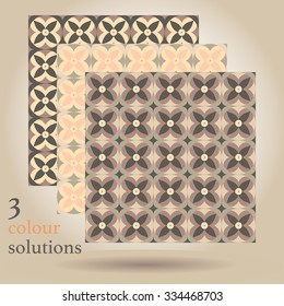 Geometric seamless pattern, three color solutions.