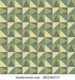 Geometric seamless pattern in trendy woodland camouflage colors. Modern fashion ornament in military style. Nature vector illustration easy to edit and use. EPS 10