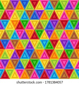 Geometric Seamless Pattern of Triangles of Blue, Brown, Crimson, Green, Orange, Red, Pink, Violet, Yellow Colors. Continuous Flat Symmetric Background of Simple Geometric Triangular Figures.